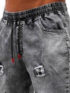 Černé pánské džínové kraťasy Bolf HY328