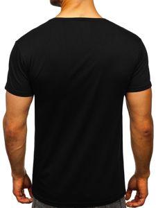 Černé pánské tričko s potiskem Bolf J5028