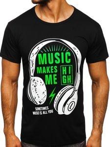 Černé pánské tričko s potiskem Bolf KS2017