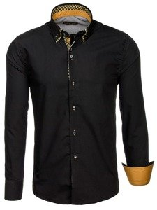 Černo-hnědá pánská elegantní košile s dlouhým rukávem Bolf 4708