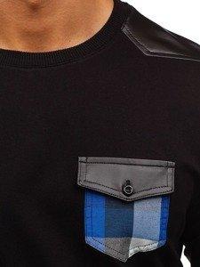 Černo-modrá pánská mikina bez kapuce Bolf 0753