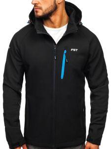 Černo-modrá pánská softshellová bunda Bolf 107A