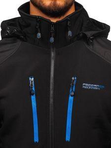 Černo-modrá pánská softshellová bunda Bolf P191