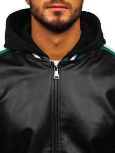 Černo-zelená pánská koženková bunda s kapucí Bolf HY615