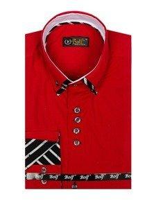 Červená pánská košile s dlouhým rukávem Bolf 3762