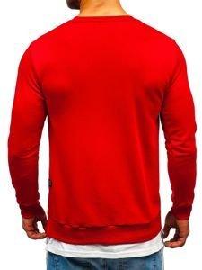 Červená pánská mikina bez kapuce s potiskem Bolf 11115