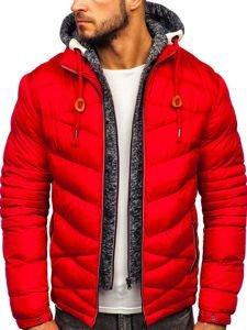 Červená pánská prošívaná sportovní zimní bunda Bolf 50A163