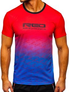Červené pánské sportovní tričko s potiskem Bolf KS2064