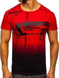 Červené pánské tričko s potiskem Bolf J5028