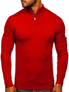 Červený pánský svetr na zip s vysokým límcem Bolf YY08