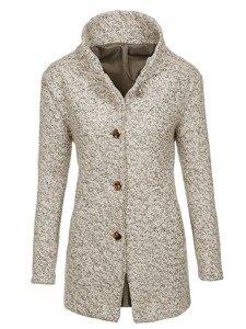 Ecru dámský kabát Bolf 6011-1