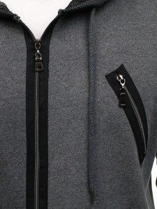 Grafitová pánská dlouhá mikina s kapucí Bolf NRT540