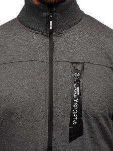 Grafitová pánská mikina na zip bez kapuce Bolf JX9888
