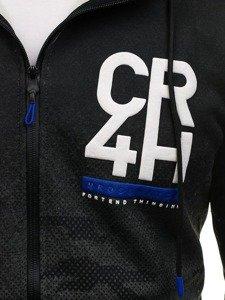 Grafitová pánská mikina na zip s kapucí Bolf DD84