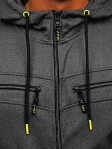 Grafitová pánská mikina na zip s kapucí Bolf TC944