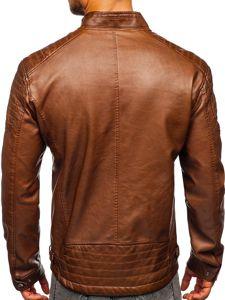 Hnědá pánská koženková bunda biker Bolf 2009
