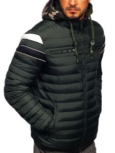 Khaki pánská prošívaná sportovní zimní bunda Bolf 50A465