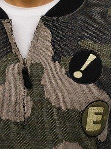 Maskáčovo-zelená pánská mikina bomber bez kapuce Bolf 0894
