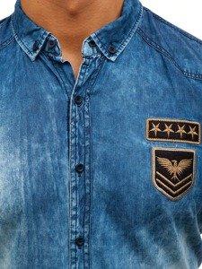 Modrá pánská džínová košile s dlouhým rukávem Bolf 0992