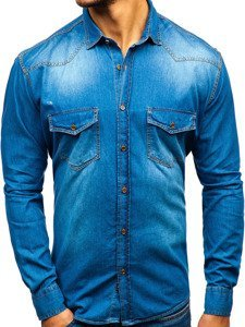Modrá pánská džínová košile s dlouhým rukávem Bolf 1331