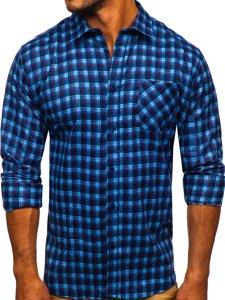 Modrá pánská flanelová košile s dlouhým rukávem Bolf F9