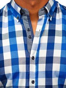 Modrá pánská kostkovaná košile s dlouhým rukávem Bolf 2779