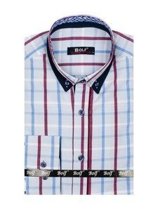 Modrá pánská kostkovaná košile s dlouhým rukávem Bolf 8809