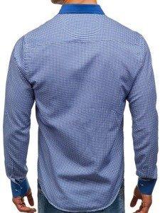 Modrá pánská vzorovaná košile s dlouhým rukávem Bolf 8806
