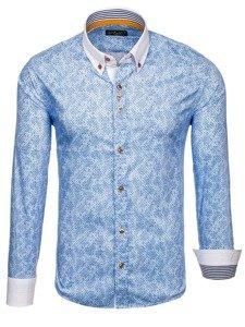 Modrá pánská vzorovaná košile s dlouhým rukávem Bolf 8842