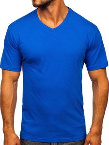 Modré pánské tričko bez potisku s výstřihem do V Bolf 192131