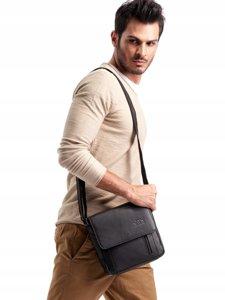 Pánská černá kožená taška 3013