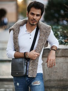 Pánská černá kožená taška 3894