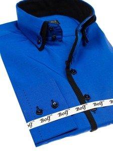 Pánská košile BOLF 1721 královsky modro-černá