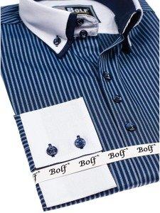 Pánská tmavě modrá elegantní pruhovaná košile s dlouhým rukávem Bolf 0909