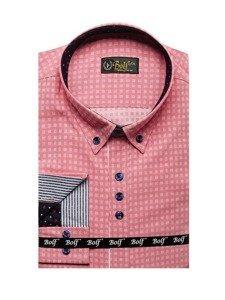 Růžová pánská vzorovaná košile s dlouhým rukávem Bolf 8841