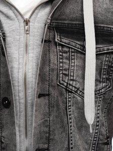 Šedá pánská džínová bunda s kapucí Bolf 10350