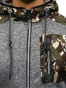 Šedá pánská maskáčová mikina na zip s kapucí Bolf HH508