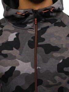 Šedá pánská maskáčová mikina na zip s kapucí Bolf W1379