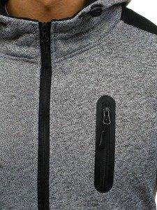 Šedá pánská mikina na zip s kapucí Bolf AK44