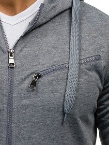 Šedá pánská mikina s kapucí Bolf 7080
