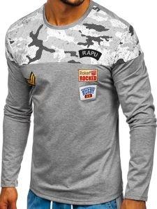 Šedé pánské tričko s dlouhým rukávem a potiskem Bolf SX025