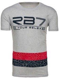 Šedé pánské tričko s potiskem Bolf 0008