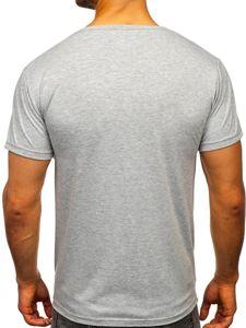 Šedé pánské tričko s potiskem Bolf KS1954