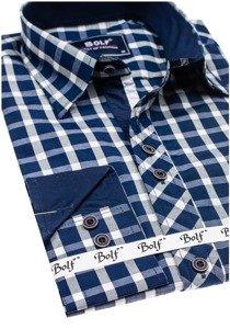 Tmavě modrá elegantní pánská kostkovaná košile s dlouhým rukávem Bolf 4747