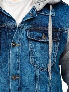 Tmavě modrá pánská džínová bunda s kapucí Bolf 211902