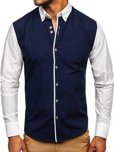 Tmavě modrá pánská elegantní košile s dlouhým rukávem Bolf 6919