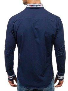 Tmavě modrá pánská elegantní košile s dlouhým rukávem Bolf 6961