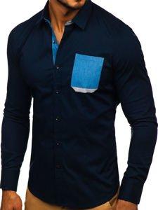 Tmavě modrá pánská elegantní košile s dlouhým rukávem Bolf 7192