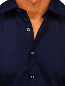 Tmavě modrá pánská elegantní košile s krátkým rukávem Bolf 7501