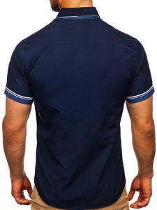 Tmavě modrá pánská košile s krátkým rukávem Bolf 2911-1